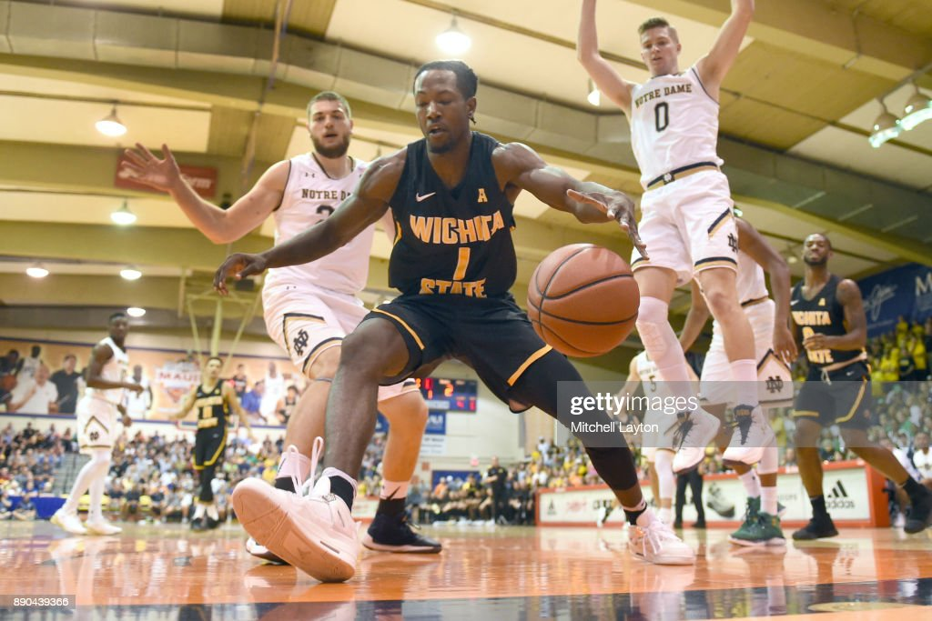 Zach Brown #1 of the Wichita State Shockers keeps the ball in bounds during a the championship of the Maui Invitational college basketball game against the Notre Dame Fighting Irish at the Lahaina Civic Center on November 22, 2017 in Lahaina, Hawaii. The Fighting Irish won 67-66.