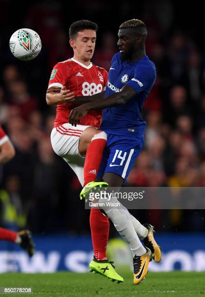 Zach Clough of Nottingham Forest and Tiemoue Bakayoko of Chelsea battle for possession during the Carabao Cup Third Round match between Chelsea and...