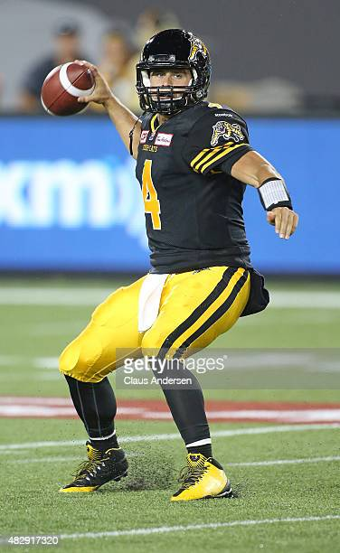 Zach Collaros of the Hamilton TigerCats fires a pass against the Toronto Argonauts during a CFL football game at Tim Hortons Field on August 3 2015...