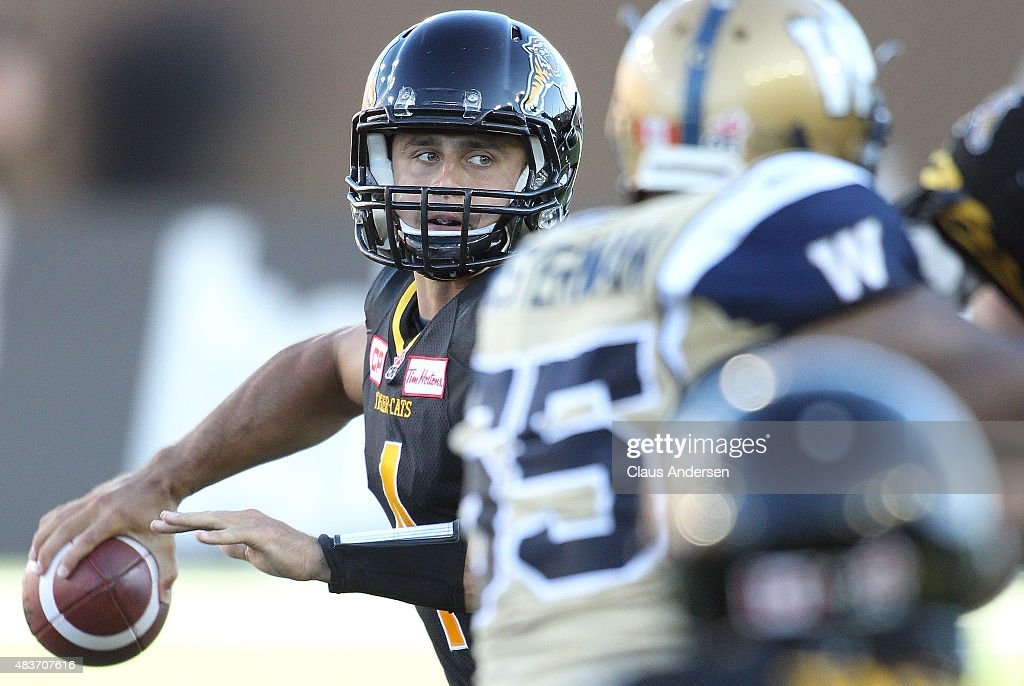 <a gi-track='captionPersonalityLinkClicked' href=/galleries/search?phrase=Zach+Collaros&family=editorial&specificpeople=6237743 ng-click='$event.stopPropagation()'>Zach Collaros</a> #4 of the Hamilton Tiger-Cats fires a pass against the Winnipeg Blue Bombers during a CFL football game at Tim Hortons Field on August 9, 2015 in Hamilton, Ontario, Canada. The Tiger-Cats defeated the Blue Bombers 38-8.