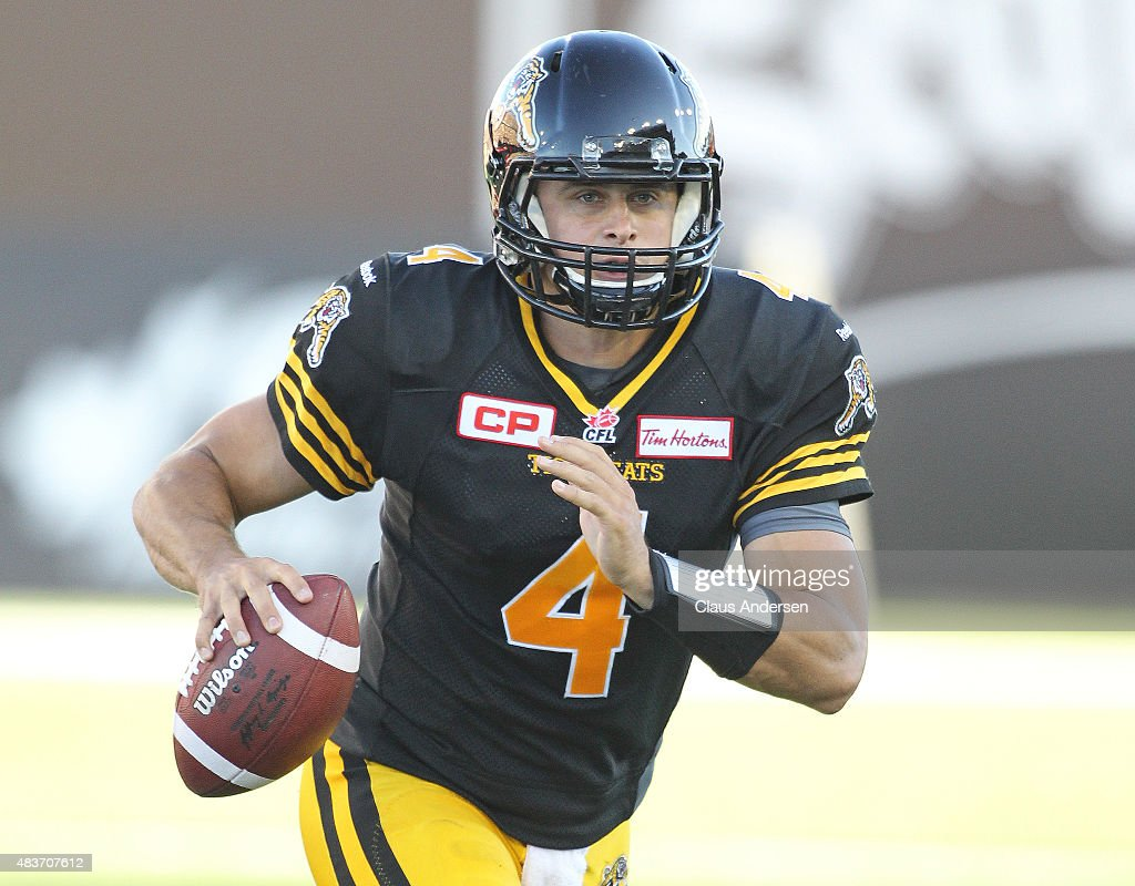 <a gi-track='captionPersonalityLinkClicked' href=/galleries/search?phrase=Zach+Collaros&family=editorial&specificpeople=6237743 ng-click='$event.stopPropagation()'>Zach Collaros</a> #4 of the Hamilton Tiger-Cats gets set to fire a pass against the Winnipeg Blue Bombers during a CFL football game at Tim Hortons Field on August 9, 2015 in Hamilton, Ontario, Canada. The Tiger-Cats defeated the Blue Bombers 38-8.