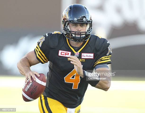 Zach Collaros of the Hamilton TigerCats gets set to fire a pass against the Winnipeg Blue Bombers during a CFL football game at Tim Hortons Field on...