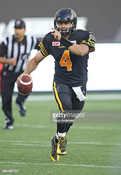 Zach Collaros of the Hamilton TigerCats gets set to fire a pass against the BC Lions during a CFL football game at Tim Hortons Field on August 15...