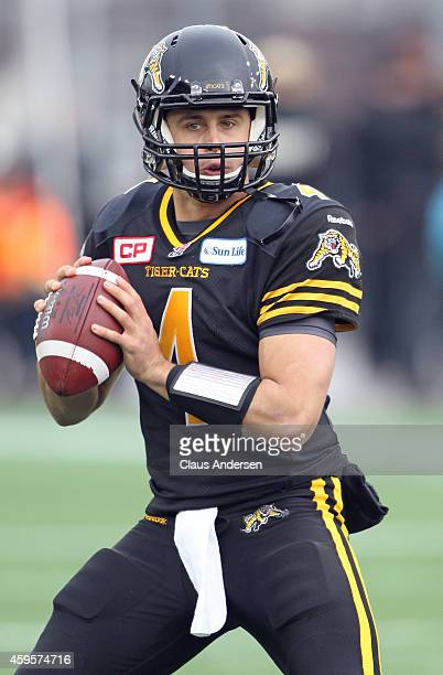Zach Collaros of the Hamilton TigerCats gets set to make a pass against the Montreal Alouettes during the CFL football Eastern Conference Final at...