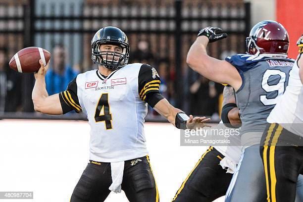 Zach Collaros of the Hamilton TigerCats looks to pass during the CFL game against the Montreal Alouettes at Percival Molson Stadium on July 16 2015...