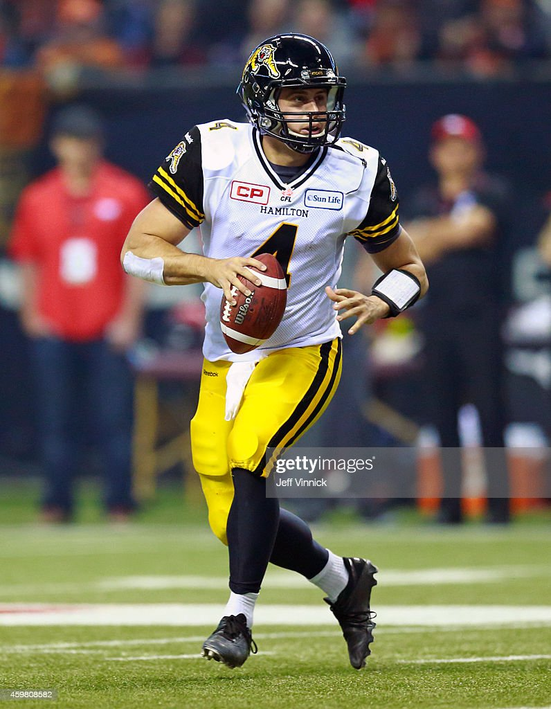<a gi-track='captionPersonalityLinkClicked' href=/galleries/search?phrase=Zach+Collaros&family=editorial&specificpeople=6237743 ng-click='$event.stopPropagation()'>Zach Collaros</a> #4 of the Hamilton Tiger-Cats runs upfield during the 102nd Grey Cup Championship Game against the Calgary Stampeders at BC Place November 30, 2014 in Vancouver, British Columbia, Canada. Calgary won 20-16.