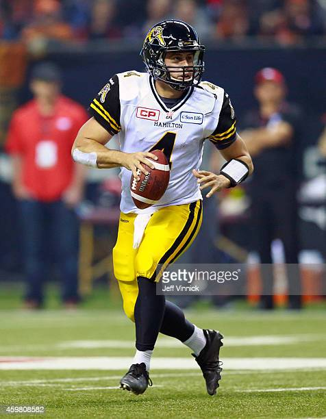 Zach Collaros of the Hamilton TigerCats runs upfield during the 102nd Grey Cup Championship Game against the Calgary Stampeders at BC Place November...