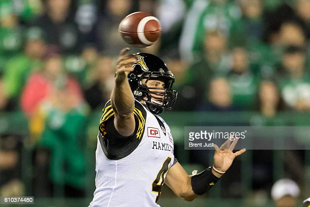 Zach Collaros of the Hamilton TigerCats throws a pass in the game between the Hamilton TigerCats and Saskatchewan Roughriders at Mosaic Stadium on...