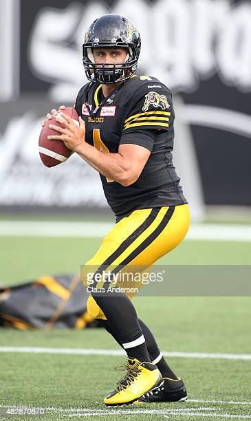 Zach Collaros of the Hamilton TigerCats warms up prior to play against the Toronto Argonauts during a CFL football game at Tim Hortons Field on...