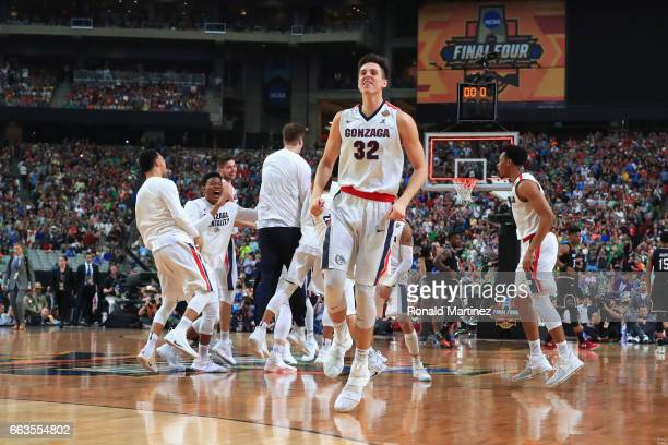 Zach Collins of the Gonzaga Bulldogs celebrates after defeating the South Carolina Gamecocks during the 2017 NCAA Men's Final Four Semifinal at...