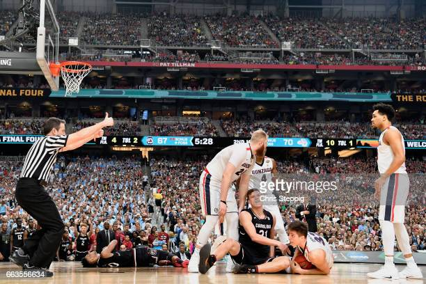 Zach Collins of the Gonzaga Bulldogs holds on to the ball during the 2017 NCAA Men's Final Four Semifinal against the South Carolina Gamecocks at...