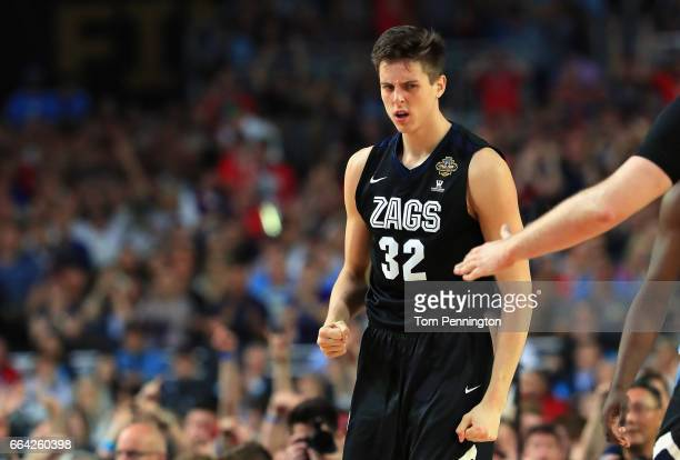 Zach Collins of the Gonzaga Bulldogs reacts in the second half against the North Carolina Tar Heels during the 2017 NCAA Men's Final Four National...
