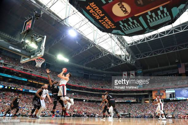 Zach Collins of the Gonzaga Bulldogs shoots against Chris Silva of the South Carolina Gamecocks in the second half during the 2017 NCAA Men's Final...