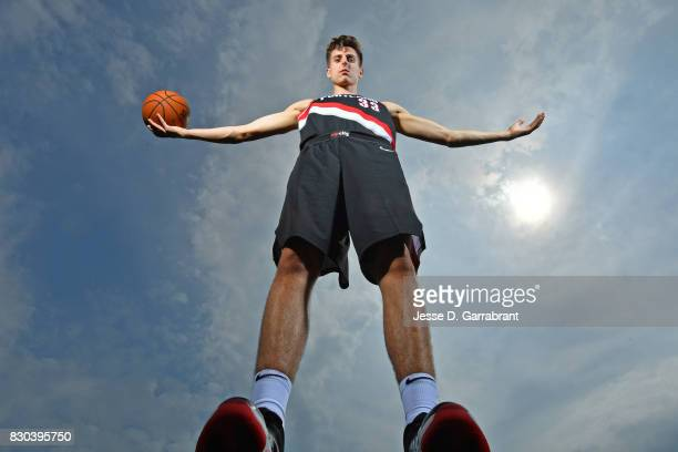 Zach Collins of the Portland Trail Blazers poses for a portrait during the 2017 NBA rookie photo shoot on August 11 2017 at the Madison Square Garden...