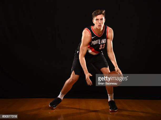 Zach Collins of the Portland Trail Blazers poses for a portrait during the 2017 NBA Rookie Photo Shoot at MSG training center on August 11 2017 in...