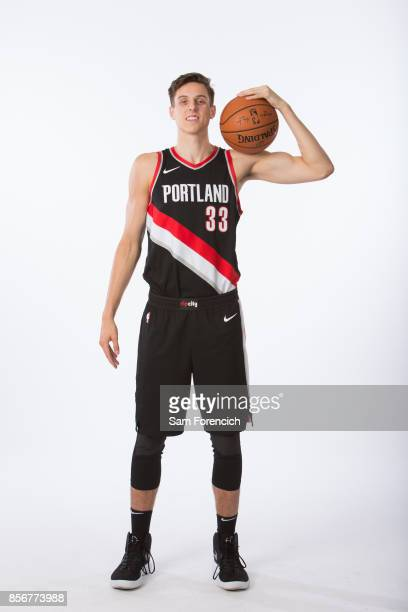 Zach Collins of the Portland Trail Blazers poses for a portrait during the 201718 NBA Media Day on September 25 2015 at the Moda Center in Portland...