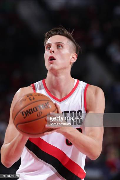 Zach Collins of the Portland Trail Blazers shoots a free throw during a pre season game against the Toronto Raptors on October 5 2017 at the Moda...