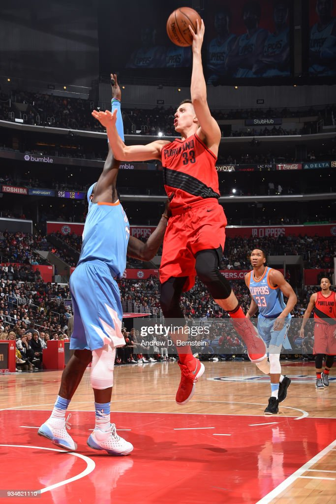 Zach Collins #33 of the Portland Trail Blazers shoots the ball against the LA Clippers on March 18, 2018 at STAPLES Center in Los Angeles, California.