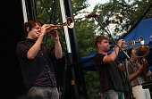 Zach Condon and Hari Ziznewski of Beirut perform during the 2009 Pitchfork Music Festival at Union Park on July 18 2009 in Chicago Illinois