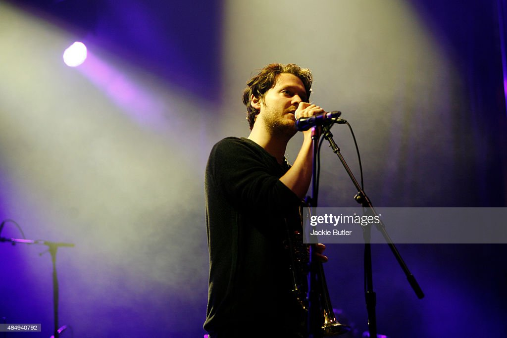 Zach Condon of Beirut performs during MusicFest NW at Tom McCall Waterfront Park on August 22 2015 in Portland Oregon
