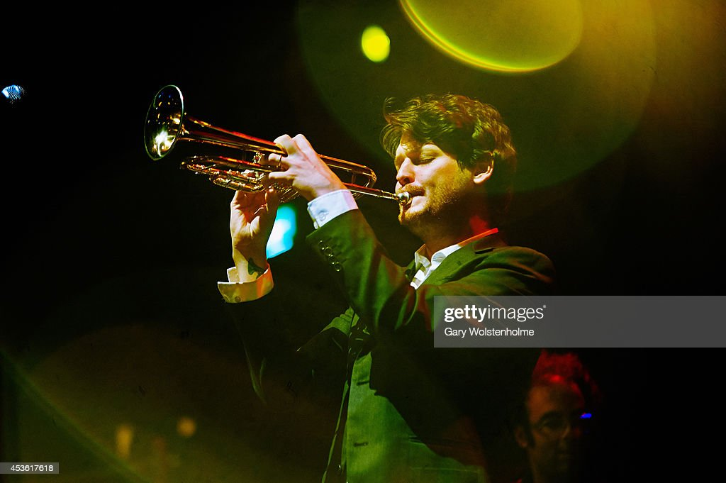 Zach Condon of Beirut performs on stage at Albert Hall on August 14 2014 in Manchester United Kingdom
