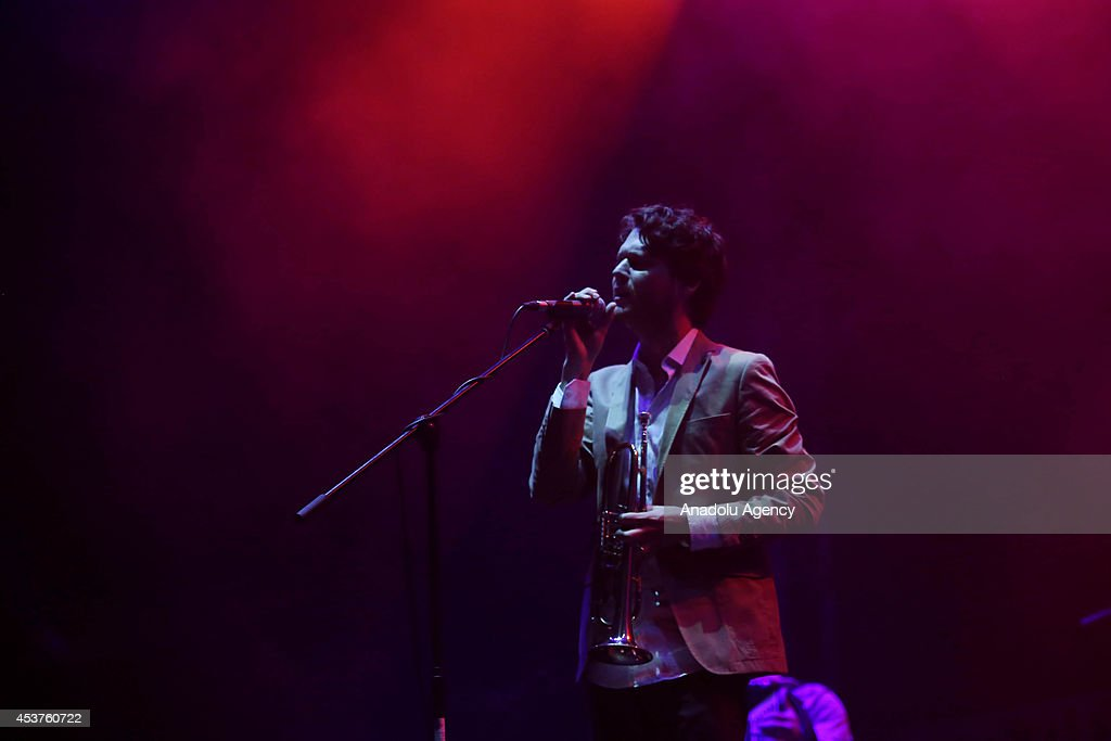 Zach Condon of Beirut performs on stage at Kucuk Ciftlik Park in Istanbul Turkey on August 17 2014