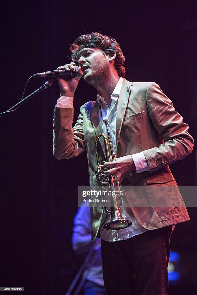 Zach Condon of Beirut performs on stage at Kucuk Ciftlik Park on August 17 2014 in Istanbul Turkey