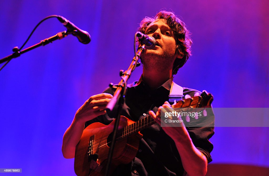 Zach Condon of Beirut performs on stage at the O2 Academy Brixton on September 24 2015 in London England