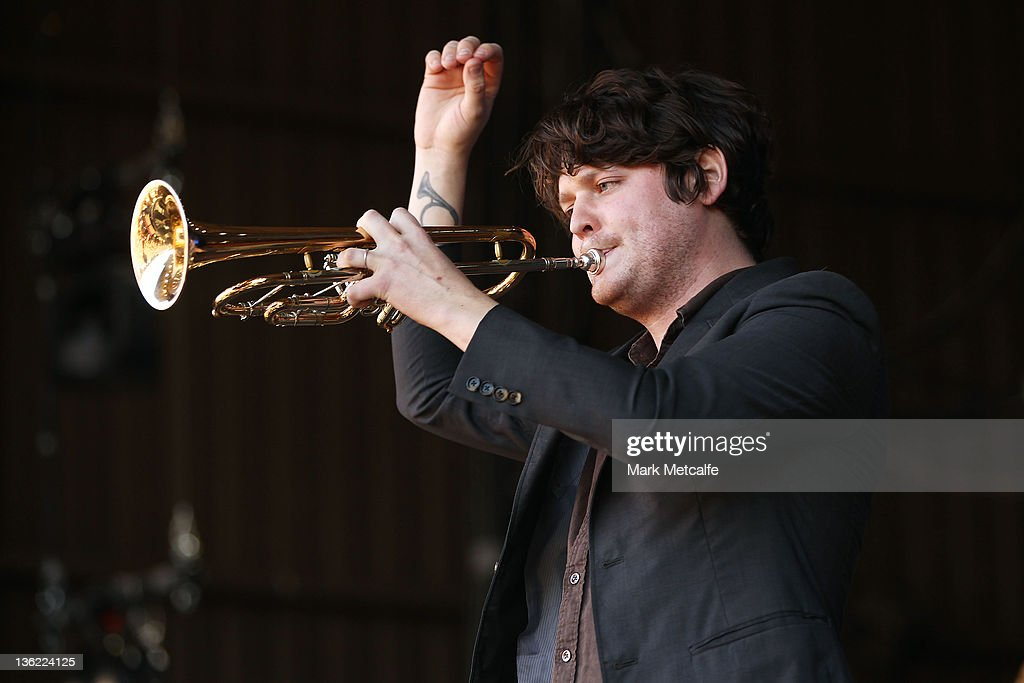 Zach Condon of Beirut performs on stage on day one of the Falls Music Festival on December 29 2011 in Lorne Australia