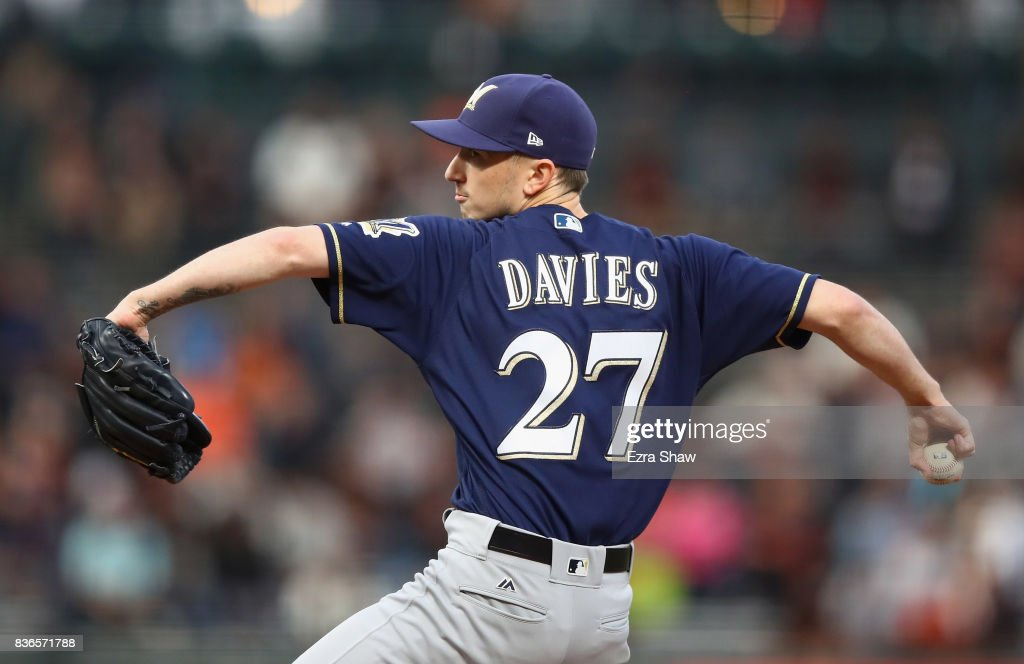 Zach Davies #27 of the Milwaukee Brewers pitches against the San Francisco Giants in the first inning at AT&T Park on August 21, 2017 in San Francisco, California.