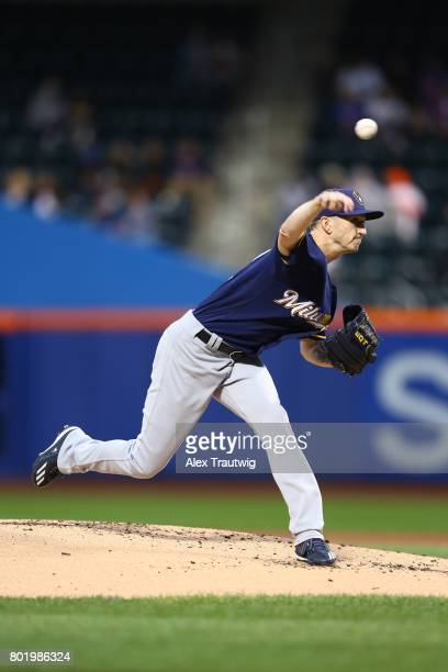 Zach Davies of the Milwaukee Brewers pitches during the game against the New York Mets at Citi Field on Tuesday May 30 2017 in the Queens borough of...