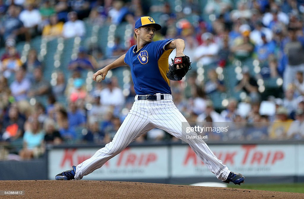 Zach Davies #27 of the Milwaukee Brewers pitches in the first inning against the Washington Nationals at Miller Park on June 24, 2016 in Milwaukee, Wisconsin.