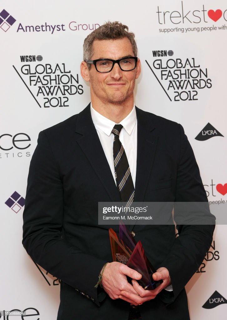 Zach Duane with the Womenswear award collected on behalf of Victoria Beckham during the WGSN Global Fashion Awards at The Savoy Hotel on November 5, 2012 in London, England.