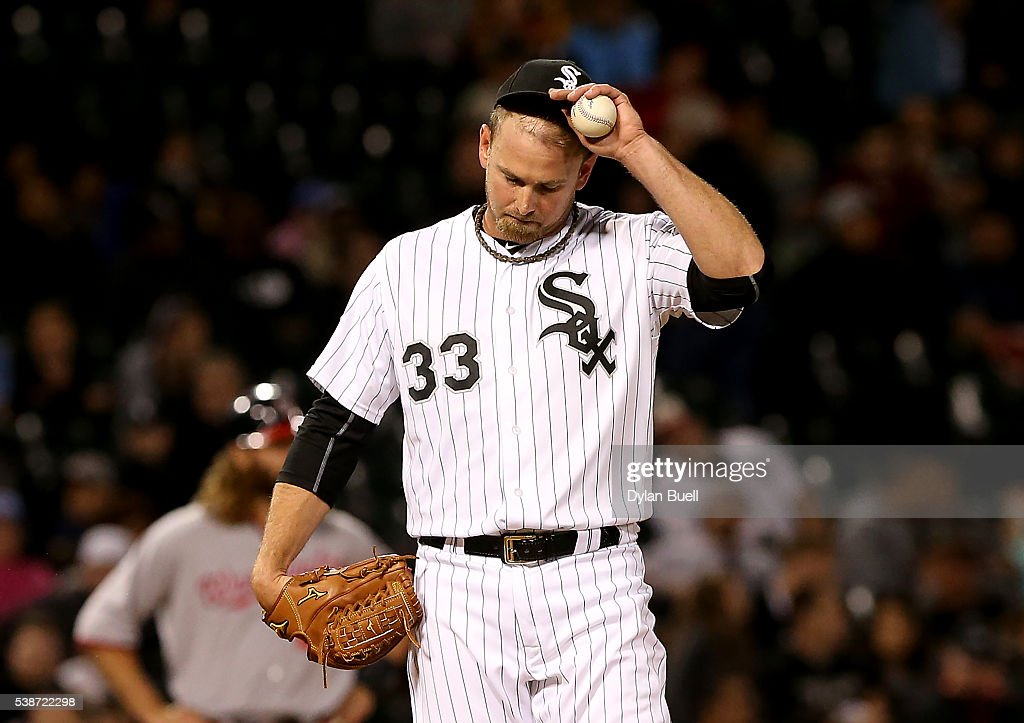 Zach Duke #33 of the Chicago White Sox reacts after walking in a run in the sixth inning against the Washington Nationals at U.S. Cellular Field on June 7, 2016 in Chicago, Illinois.