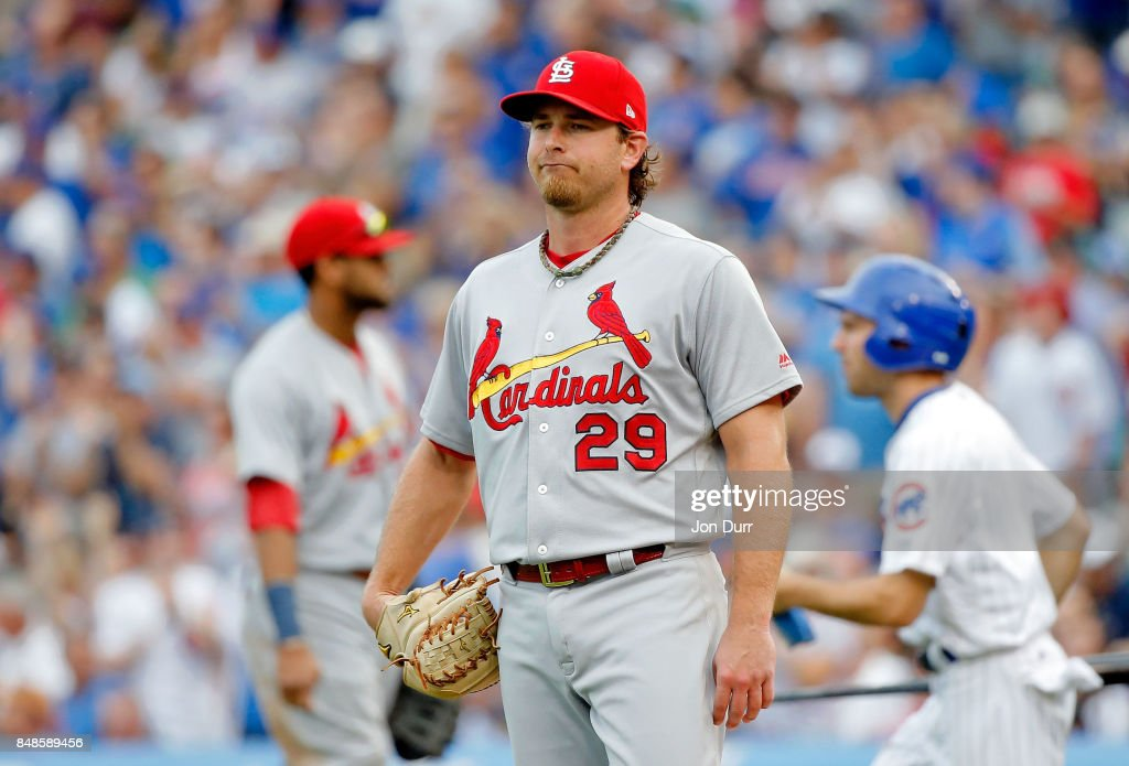 Zach Duke #29 of the St. Louis Cardinals reacts after giving up a double to Jason Heyward #22 of the Chicago Cubs (not pictured) during the sixth inning at Wrigley Field on September 17, 2017 in Chicago, Illinois.