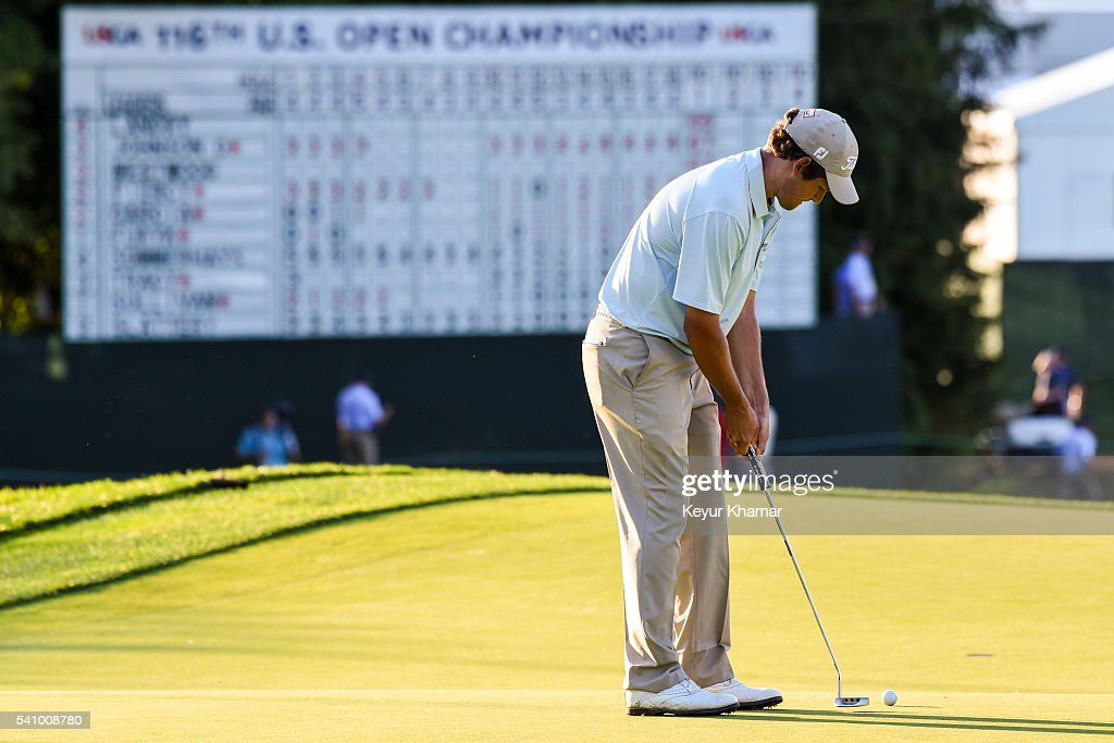 Zach Edmondson makes a bogey putt on the 18th hole green during the second round of the US Open at Oakmont Country Club on June 17 2016 in Oakmont...