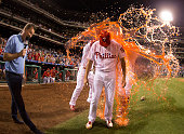 Zach Eflin of the Philadelphia Phillies gets Powerade dumped on him after the game against the Atlanta Braves at Citizens Bank Park on July 5 2016 in...