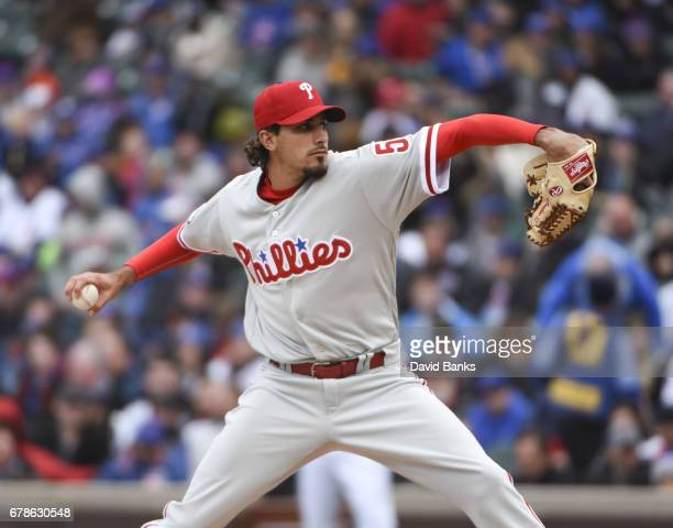 Zach Eflin of the Philadelphia Phillies pitches against the Chicago Cubs during the first inning on May 4 2017 at Wrigley Field in Chicago Illinois