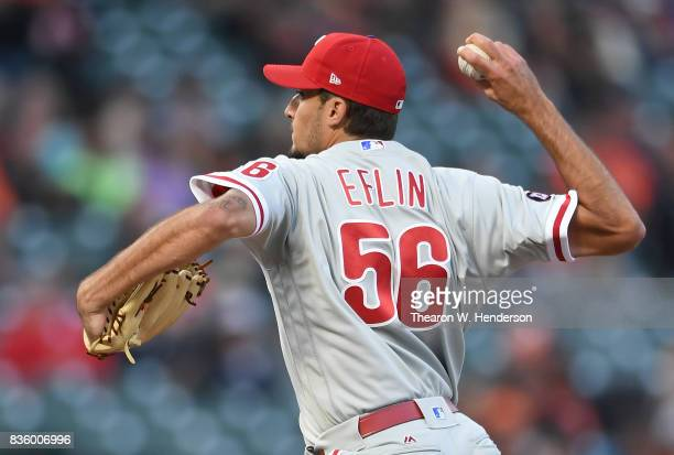 Zach Eflin of the Philadelphia Phillies pitches against the San Francisco Giants in the bottom of the first inning at ATT Park on August 18 2017 in...