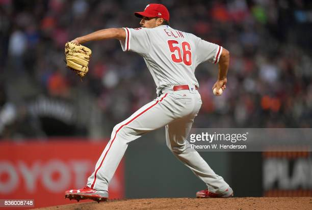 Zach Eflin of the Philadelphia Phillies pitches against the San Francisco Giants in the bottom of the second inning at ATT Park on August 18 2017 in...