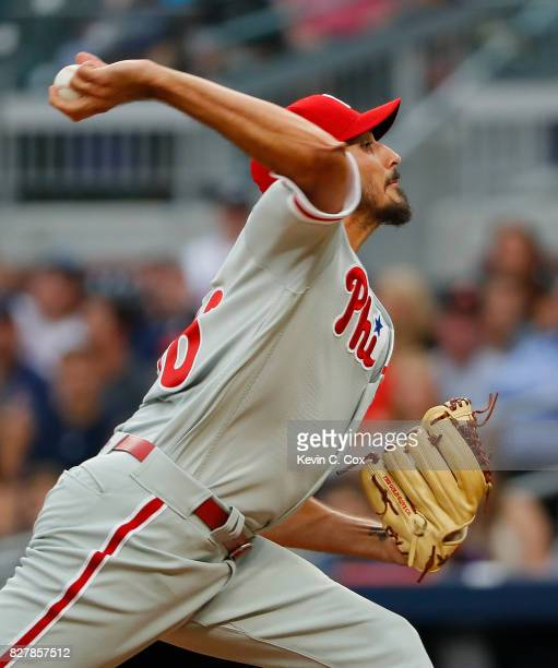 Zach Eflin of the Philadelphia Phillies pitches in the first inning against the Atlanta Braves at SunTrust Park on August 8 2017 in Atlanta Georgia