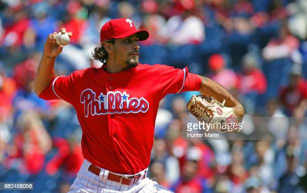 Zach Eflin of the Philadelphia Phillies throws a pitch during a game against the Seattle Mariners at Citizens Bank Park on May 10 2017 in...