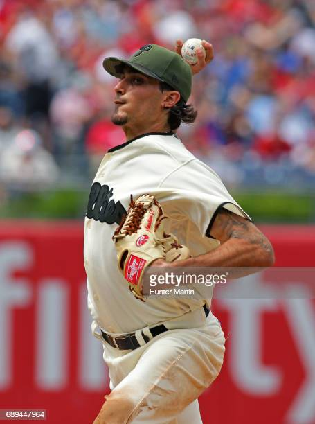 Zach Eflin of the Philadelphia Phillies throws a pitch in the third inning during a game against the Cincinnati Reds at Citizens Bank Park on May 28...
