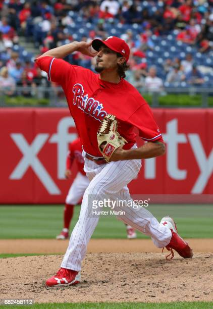 Zach Eflin throws a pitch during a game against the Seattle Mariners at Citizens Bank Park on May 10 2017 in Philadelphia Pennsylvania The Mariners...
