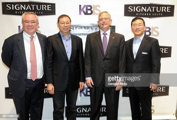 Zach Elkin GM of Signature Kitchen Suite Mr SeongJin Jo CEO of LG Electronics David Alderman of Dave's Cabinet Inc and William Cho US CEO of...