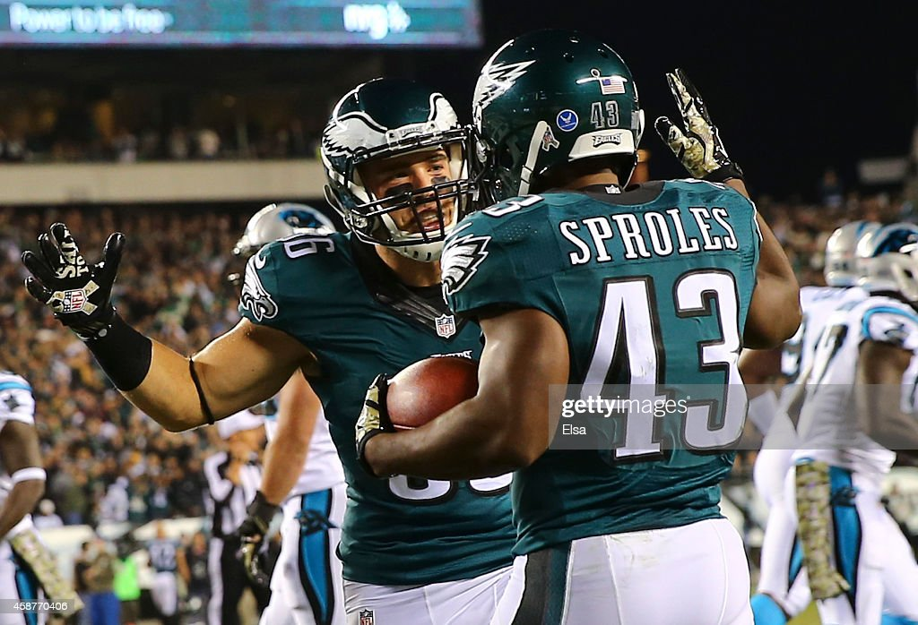Zach Ertz #86 and Darren Sproles #43 of the Philadelphia Eagles react after Sproles scored a touchdown in the first quarter against the Carolina Panthers on November 10, 2014 at Lincoln Financial Field in Philadelphia, Pennsylvania.