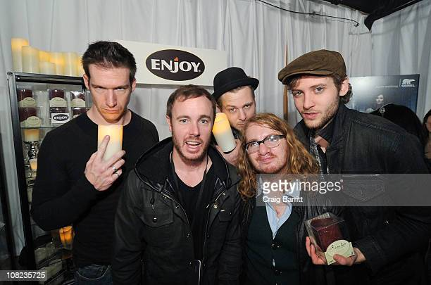 Zach Filkin Eddie Fisher Ryan Tedder Drew Brown and Brent Kutzle of One Republic at Enjoy Lighting Flameless Candles Light Up on January 21 2011 in...