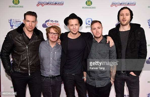 Zach Filkins Drew Brown Ryan Tedder Eddie Fisher and Brent Kutzle of One Republic attend the Jingle Bell Ball at 02 Arena on December 6 2014 in...