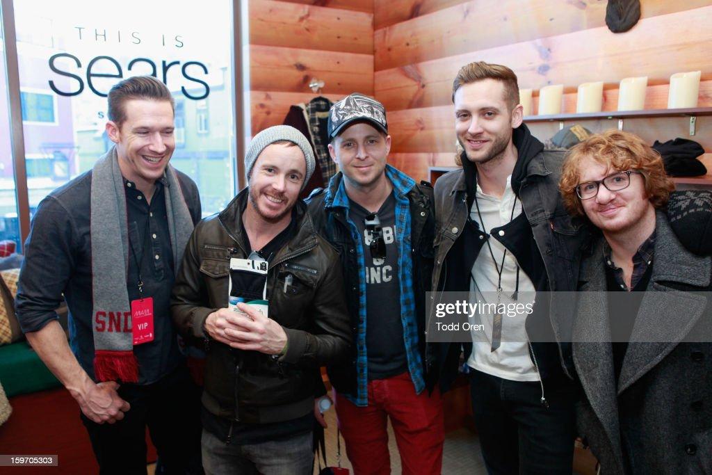 Zach Filkins, Eddie Fisher, Ryan Tedder, Brent Kutzle and Drew Brown of OneRepublic attend Sears Shop Your Way Digital Recharge Lounge on January 18, 2013 in Park City, Utah.