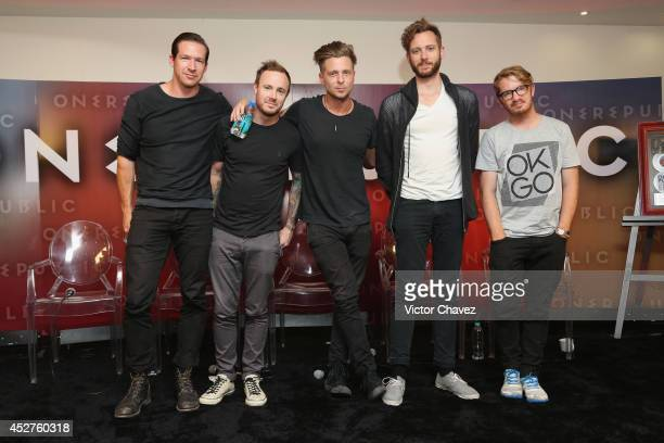 Zach Filkins Eddie Fisher Ryan Tedder Brent Kutzle and Drew Brown of One Republic attend a press conference at Palacio De Los Deportes on July 26...